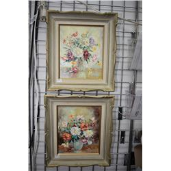 """Pair of framed acrylic on canvas stylized pallet painted still-lives, one labelled on verso """" Gay Bo"""