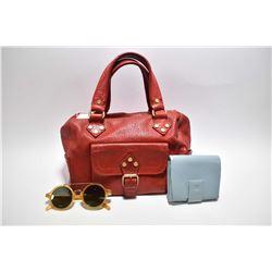 Vintage leather Celine Paris handbag, vintage Celine sunglasses and a LeTanneur wallet