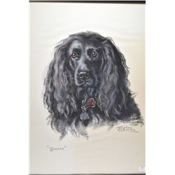 """Framed original pastel on paper drawing titled """"Bunker"""" and signed by artist Josephine Crumrine, 24"""""""