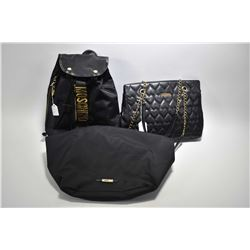 Vintage black leather quilted heart Moschino chain bag plus a Moschino canvas backpack and shopper