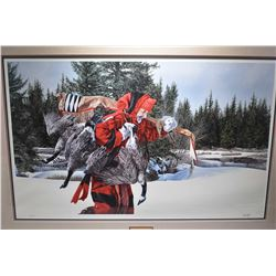 """Framed limited edition print """"A Winter Feast"""" pencil signed by artist Paul Calle, 361/1250"""