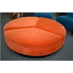 "Three piece 60"" diameter orange velvet upholstered lobby bench/ottoman purportedly bought at the Hot"