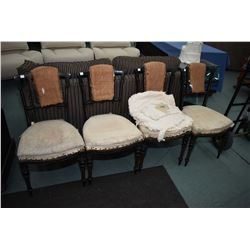 Four French antique ebonized chairs with tapered and reeded supports, ready for reupholstering
