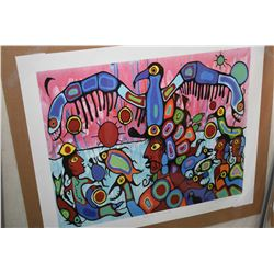 """Two unframed Norval Morriseau prints including """"Thunderbird Shaman Teaching"""" and """"Between Two Worlds"""