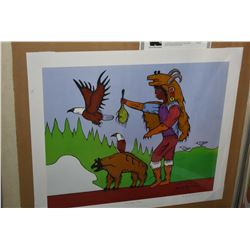 """Two unframed prints including """"In The Northland"""" by Group of Seven Tom Thomson and """" The Bear Clan"""""""