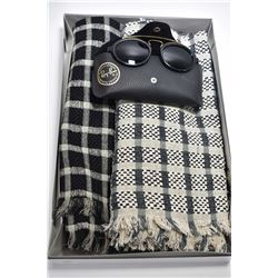 Two designer scarves by Simon Chang and a pair of vintage Ray Ban sunglasses with case