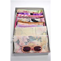 Fifteen designer long silk chiffon long scarves including Simon Chang, Lanvin Pairs etc. plus a pair