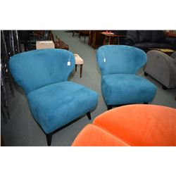 Pair of modern retro style turquoise velvet armless parlour chairs