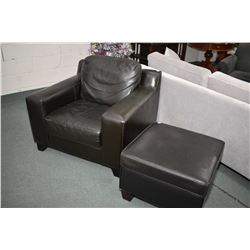 Modern 100% leather parlour chair with matching ottoman
