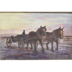 "Framed acrylic on board painting of a horse drawn cart signed by artist, 9"" X 12"""