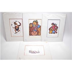 "Four unframed prints including ""Peter & His Friends by Norval Morriseau and the Odig prints includin"