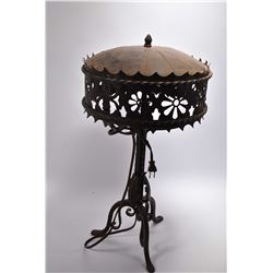 Vintage hand forged wrought iron table lamp with pierced metal shade