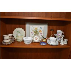 Selection of vintage china collectibles including Belleek, Hammersley,Shelley, Pimpernal placemats,
