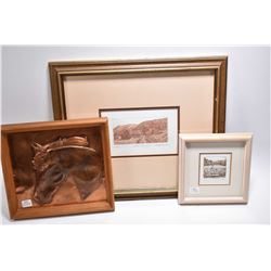 "Three frame pictures including ""Trail Ride"" by pencil signed by artist J.M. Wispinksi , A/P III, lim"