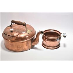 "Antique Canadian made McClary copper kettle with brass and wooden handle approximately 9"" in height"