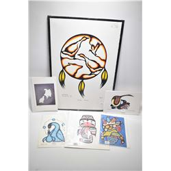 "Six unframed prints including limited edition ""Honor Drum"" by artist Irwin 1/25 plus printed cards e"