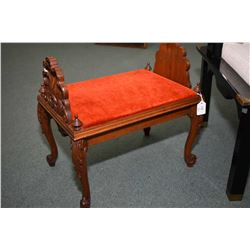 Antique mahogany footstool with shell shaped uprights and Victorian style scroll feet