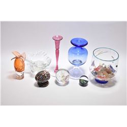 Selection and vintage and signed art glass including bowl of glass sweets, paperweights, ruffled bow
