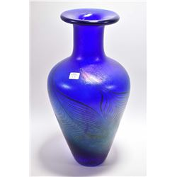"Large hand blown iridescent and cobalt art glass vase attributed to Robert Held, 17"" in height"