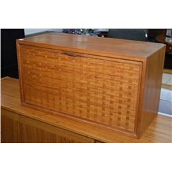 Teak wall mount cabinet with drop down front