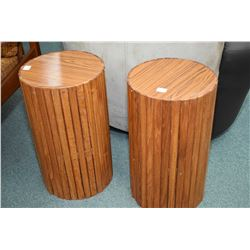 "Two mid century slat design round side tables 17"" in height"