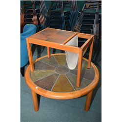 Two pieces of mid century modern teak framed, tile topped furniture including round coffee table mar