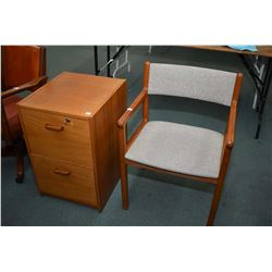 Two drawer teak filing cabinet and an open arm office chair