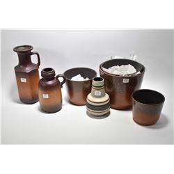 Selection of vintage West German pottery including four graduated planters, two jugs and a vase