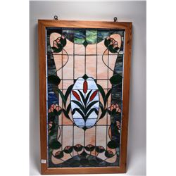 "Framed slag glass leaded panel with floral cameo, overall dimensions 33"" X 19"""