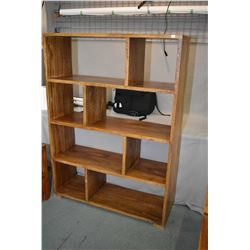 Modern design heavy exotic mango wood free standing open shelf unit, could be used as a wall unit or