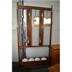 Mid century modern teak free standing room divider with three hanging light fixtures, planter base a