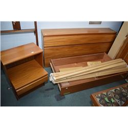Danish made queen sized Mobler mid century teak bed with headboard andlarge in bed base plus