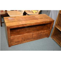 Modern designed heavy mango wood two drawer low cabinet ideal for a television unit