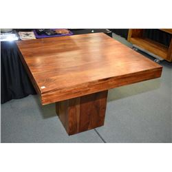 """Exotic mango wood center pedestal tall 40"""" square table"""