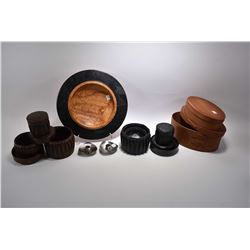 Selection treenware including two shaker's boxes, turned burled bowl signed Karla and Matthew two le