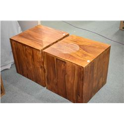 Modern design heavy exotic mango wood two cube chairs
