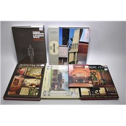 Six vintage hardcover design books including Frank Lloyd Wright