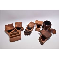 Selection of hand crafted treenware boxes, some marked Rainforest Treasures and California Redwood