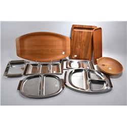 Selection of mid century teak and stainless tableware including Atka Bangkok Teak made in Sweden tra