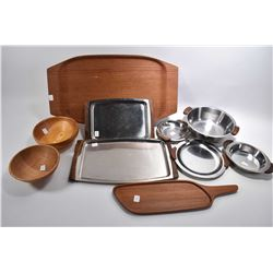 Selection of mid century teak and stainless tableware including cheese board marked made in Sweden,
