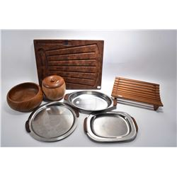 Selection of mid century teak and stainless tableware including cutting board marked ESA Teak Denmar