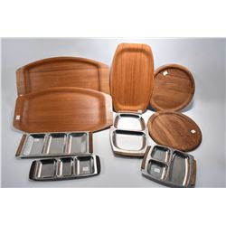 Selection of mid century teak and stainless tableware including Orrefors trays etc.
