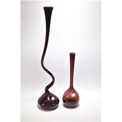 "Two pieces of original mid century art glass including 28"" Danish Norman Copenhagen amethyst glass v"