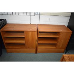 Pair of Canadian made mid century modern cabinets with singled drawer, single door and open shelves