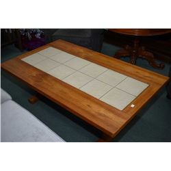 Teak double pedestal coffee table with tile inset center