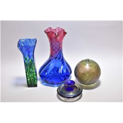 Four pieces of art glass including a Daniel Vargas hand-blown ball, signed Katross vase and a signed