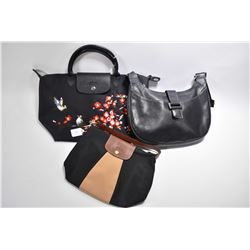 Three vintage Longchamps bags including leather shoulder bag, an embroidered nylon and leather LePli