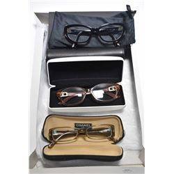Three pairs of designer glasses including Chanel, Versace and Dolce & Gabbana, note all with prescri