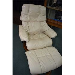 Mid century designed swivel recliner with leather upholstery and matching ottoman made by J. E. Ekor