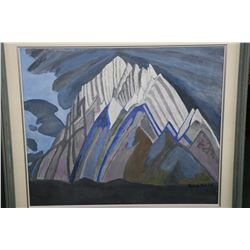 "Framed acrylic on canvas painting of stylized mountains signed by artist Lorne Day, 20"" X 24"""